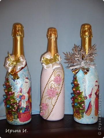 Одну новогоднюю бутылочку я вам уже показывала,поэтому повторяюсь. Уж больно хорошо они смотрятся вместе. фото 1