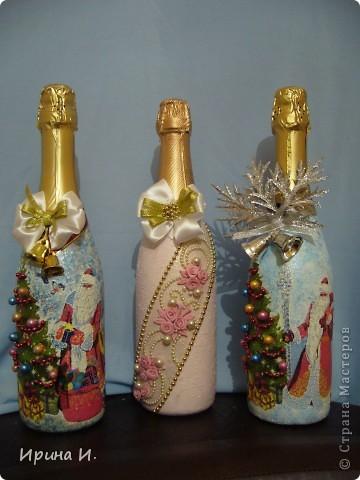 Одну новогоднюю бутылочку я вам уже показывала,поэтому повторяюсь. Уж больно хорошо они смотрятся вместе. фото 2