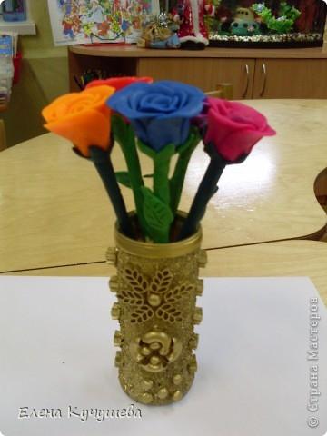 В первый раз попробовала лепить розы из пластилина. фото 2