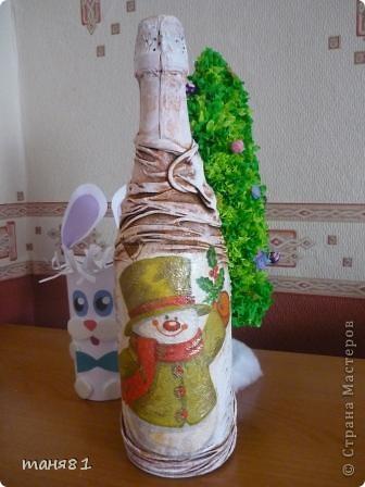 Насмотревшись новогодних бутылочек Мастериц, решила попробывать сделать... фото 1