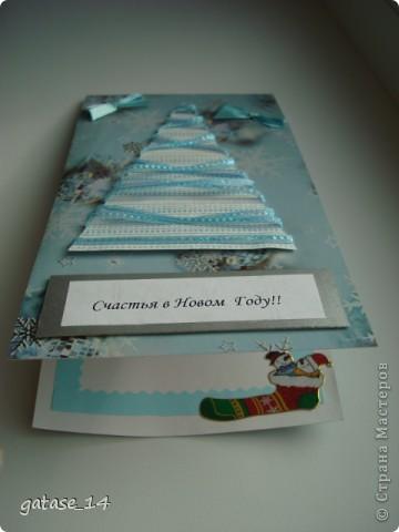Еще несколько новогодних открыток! Очень понравилась открытка-елочка с лентами k.aktus , спасибо за идею!!!   фото 4