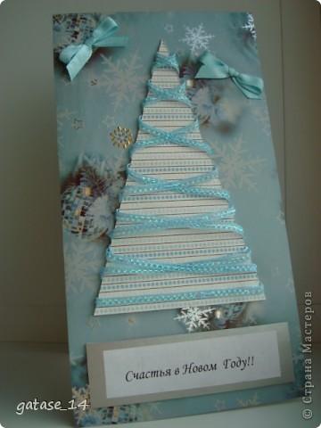 Еще несколько новогодних открыток! Очень понравилась открытка-елочка с лентами k.aktus , спасибо за идею!!!   фото 3