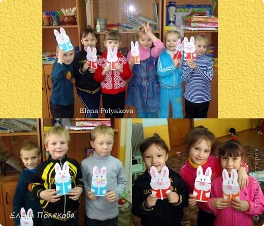 Еще одна наша новогодняя открытка, на этот раз с символом наступающего года - белым кроликом. Мой образец. Для оформления ушек и носа скатывали из салфеток бумажные комочки. фото 2