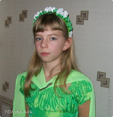 """""""Лесная нимфа"""" -  костюм внучки Оли. Она учится в 5 классе. Ободок и браслет украсила канзашками.  фото 1"""