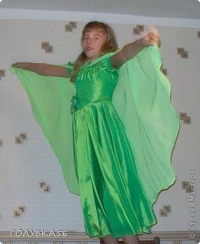 """""""Лесная нимфа"""" -  костюм внучки Оли. Она учится в 5 классе. Ободок и браслет украсила канзашками.  фото 3"""