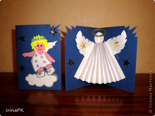 Вот такую открытку можно сделать к Рождеству. В открытом виде выглядит так. фото 8