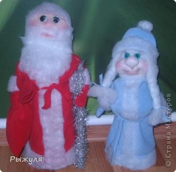 Вот такие Дед Мороз и Снегурушка пришли к нам из леса (за один день) фото 1
