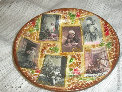 Декоративная тарелка на подставке, прямой декупаж, скорлупки, контуры. фото 4