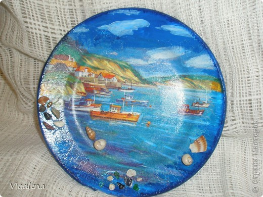 Декоративная тарелка на подставке, прямой декупаж, скорлупки, контуры. фото 12