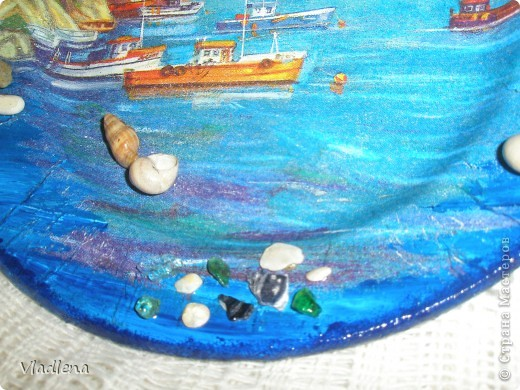 Декоративная тарелка на подставке, прямой декупаж, скорлупки, контуры. фото 11