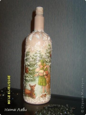 Моя первая попытка. Попалась красивая бутылочка и салфетка. Да, хрустальная паста еще без дела лежала. Вот результат. фото 5