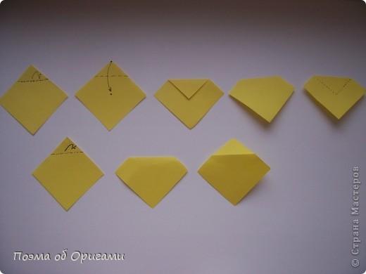 Для того, что бы прочитать схему даже самого сложного изделия, достаточно запомнить небольшой набор условных обозначений. Большая их часть была введена в практику еще в середине ХХ века известным мастером Акирой Йошизавой. Условные знаки играют роль своеобразных «нот», следуя которым можно воспроизвести любую, даже самую сложную работу. Все обозначения в оригами можно разделить на линии, стрелки и знаки. Для записывания того или иного приема могут быть использованы различные их комбинации. В данном файле дополнительно приведены англоязычные термины, которые используют для описания процесса складывания в посвященной оригами англоязычной литературе. Они уже давно установились и являются столь же общепризнанными, как и условные обозначения. фото 9