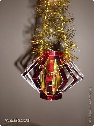 новогодний фонарик из голографического картона фото 1