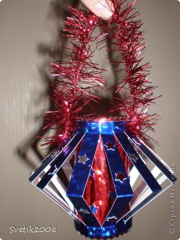 новогодний фонарик из голографического картона фото 2