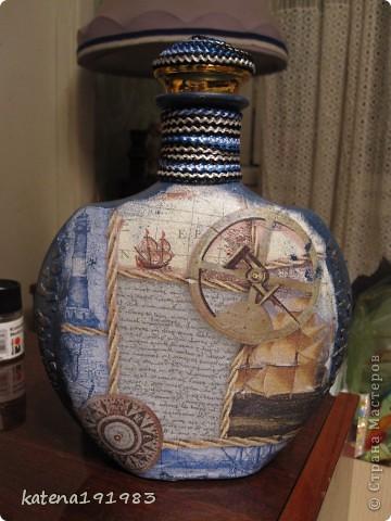 """Вот такая бутылочка у меня получилась спонтанно, как и идея ее подарить...бутылка пустая, муж не пьет, в ней будет карта """"сокровищ"""" (подарков ,которые я ему приготовила) фото 1"""