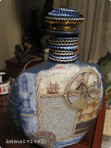 """Вот такая бутылочка у меня получилась спонтанно, как и идея ее подарить...бутылка пустая, муж не пьет, в ней будет карта """"сокровищ"""" (подарков ,которые я ему приготовила) фото 3"""