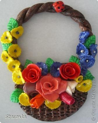 Корзинка с цветами, в подарок на 8е марта. фото 1