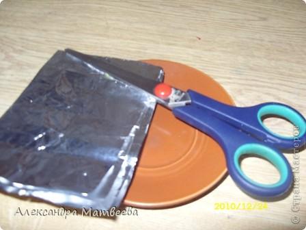 1.Понадобится: Фольга,ножницы,Краски по ткани, клей ПВА, тарелочка и пластмассовое яйцо от Смешариков. фото 3
