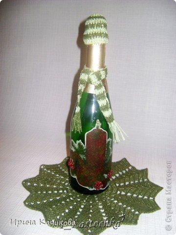 Новогодняя салфеточка и бутылочка фото 1