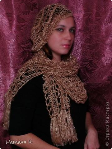 шарф связан на вилке в подарок маме фото 2