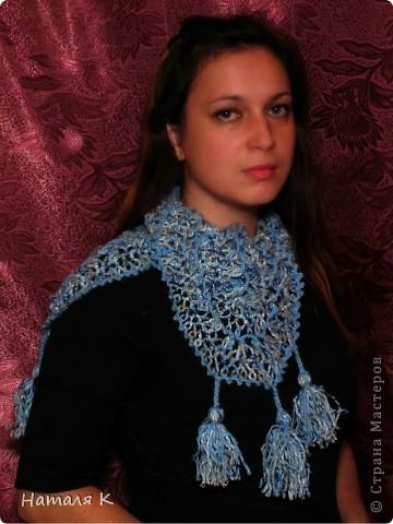 шарф связан на вилке в подарок маме фото 1