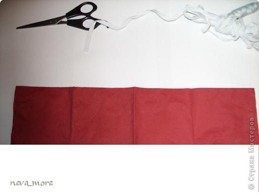 Нам понадобится: нитка и иголка, ножницы, плотная салфетка (или ткань, лента), резинка, булавка. фото 3