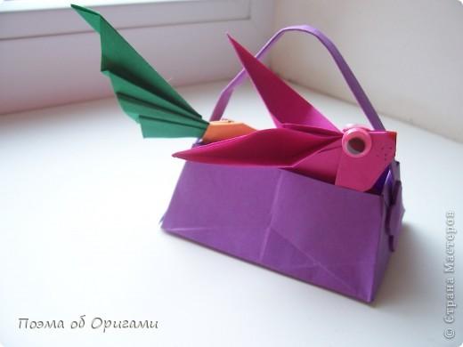 Мастер-класс Оригами Лукошко кролик и морковка Бумага фото 1
