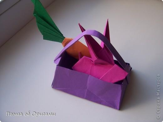 Мастер-класс Оригами Лукошко кролик и морковка Бумага фото 47