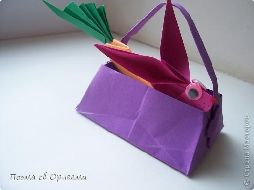 Мастер-класс Оригами Лукошко кролик и морковка Бумага фото 48