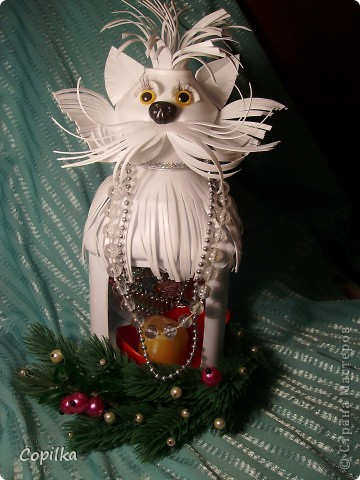 Зимняя кошка-подсвечник фото 4