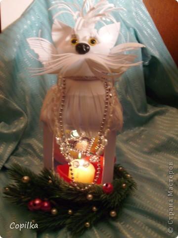 Зимняя кошка-подсвечник фото 1