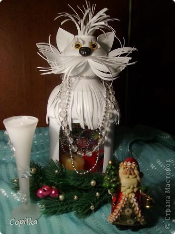 Зимняя кошка-подсвечник фото 5