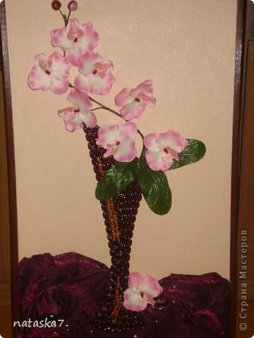 Ваза из фасоли,цветы покупные,искусственные. фото 2