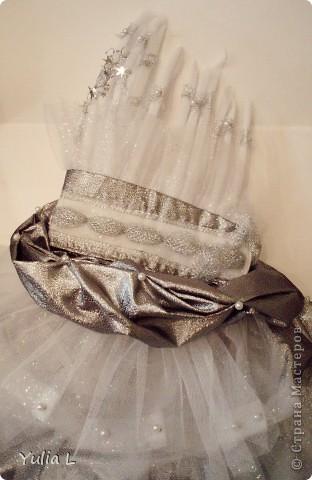 Хочу показать наши новогодние штучки для юной принцессы. Перчатки и бант для волос: металлизированный трикотаж, сетка, тесьма. фото 3