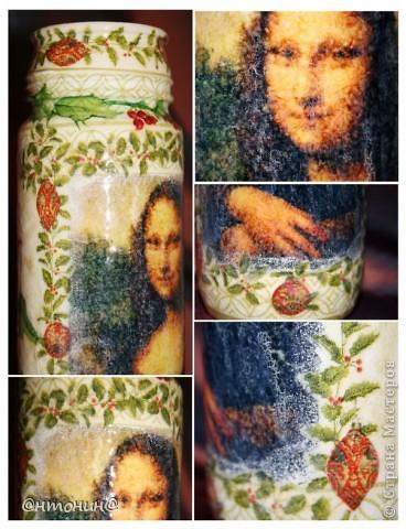 """Моя любимая ваза)) Была бутылка винная стала Мона Лизная)).  Саму """"Мону Лизу"""" распечатала на салфетке с помощью струйного (!) принтера. У меня ничего не порвалось и все очень хорошо отпечаталось. Самое главное приклеить скотчем салфетку не на весь лист, а на половину. фото 2"""