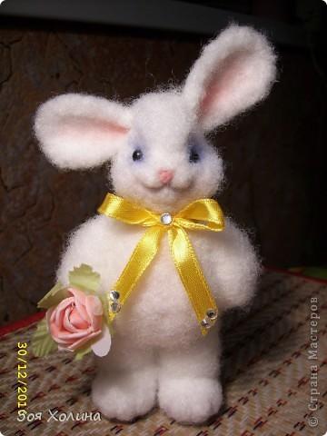 Зая Розочка последняя в 2010 году. Она также из наполнителя и тонирована косметикой, высотой 12 см. Сделана для замечательной девушки, которая ее с нетерпением ждет. фото 1