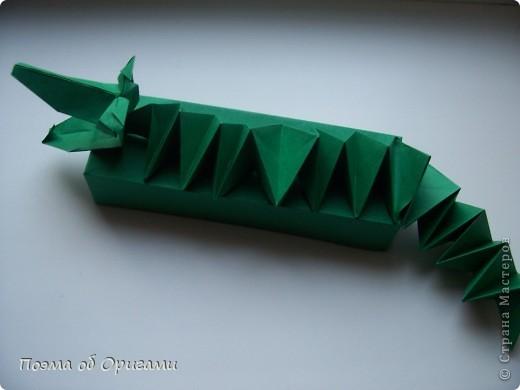 Крокодил – это один из видов больших водных рептилий, обитающих, как правило, в  тропиках. Полагают, что они  мало изменились со времен динозавров.  Эту оригами композицию крокодила я придумала сама специально для наших занятий с детьми. Ее основа - удлиненная коробочка, похожая на пенал. Ее величина вполне позволяет поместиться карандашам и ручкам стандартной длины. Автором головы крокодила является Поль Джексон из Англии. Между прочим, она хищно клацает челюстями и запросто ухватит за палец, если  осторожно надавить на «щечки»:).  Для нее были использованы пять квадратов, размером 20х20. Два из них сгодятся для  коробочки-основы. Два других разделить на равные восемь частей (каждый лист на четыре равных квадрата). Четыре из них размером 10х10 пойдут на лапки и один - на голову.  Еще один квадрат разделим на равные четыре полоски – три из них будут использованы для гофрированной спинки и хвоста. фото 32