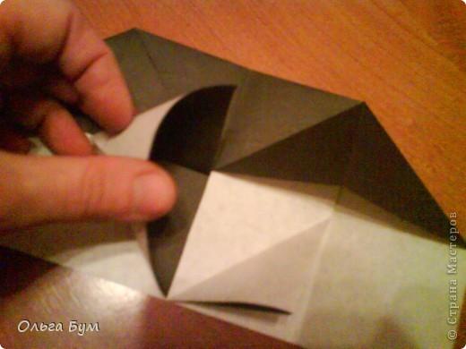 Киски-оригами. Они могут открывать рты, если нажать с двух сторон. Делаем из квадрата, полученного из листа формата А4 (стандартный лист) фото 11