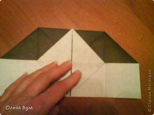 Киски-оригами. Они могут открывать рты, если нажать с двух сторон. Делаем из квадрата, полученного из листа формата А4 (стандартный лист) фото 13