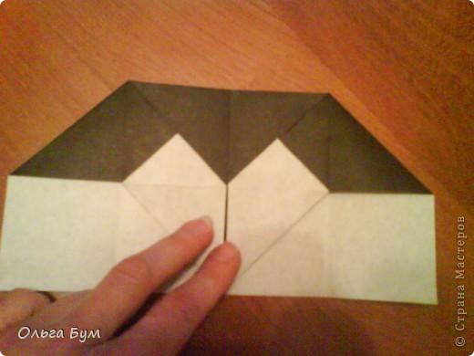 Киски-оригами. Они могут открывать рты, если нажать с двух сторон. Делаем из квадрата, полученного из листа формата А4 (стандартный лист) фото 15