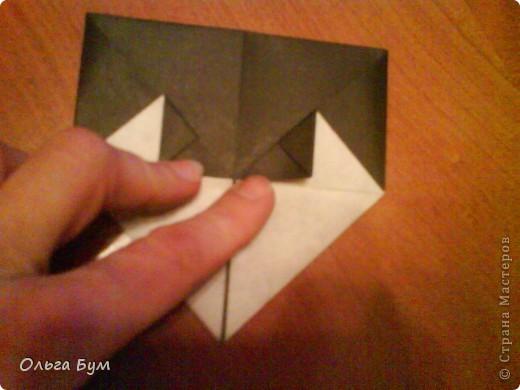 Киски-оригами. Они могут открывать рты, если нажать с двух сторон. Делаем из квадрата, полученного из листа формата А4 (стандартный лист) фото 26