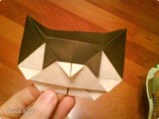 Киски-оригами. Они могут открывать рты, если нажать с двух сторон. Делаем из квадрата, полученного из листа формата А4 (стандартный лист) фото 32