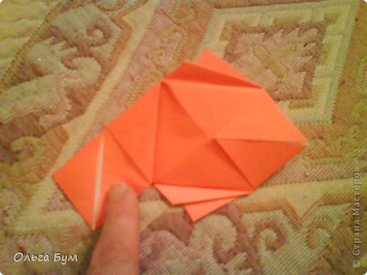 Рыбка золотая. Оригами. Делаем из квадрата полученного из листа формата А4 (квадрат получается 20х20 см) фото 11