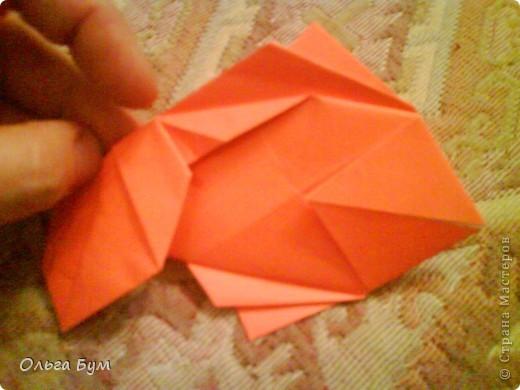 Рыбка золотая. Оригами. Делаем из квадрата полученного из листа формата А4 (квадрат получается 20х20 см) фото 13