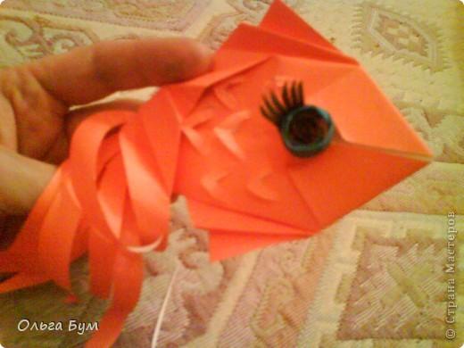 Рыбка золотая. Оригами. Делаем из квадрата полученного из листа формата А4 (квадрат получается 20х20 см) фото 17
