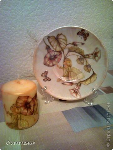 Еще один комплект тарелочек в паре со свечами. Здесь использована скорлупа и декупажная карта. Все покрыто акриловой краской, затем лаком. фото 6