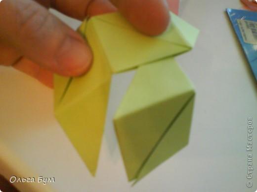 Это розочка-оригами, которая ещё и кубик-трансформер. Она превращается из розы в куб и обратно. Именно это мне в ней и нравится - сюрприз-фокус. Делать её на самом деле нетрудно, как это может показаться! По три модуля разного цвета складываются на ура. Немного хлопотно собирать, запихивая уголки в пазики. Только трудновато расправлять лепестки. У меня бумага для заметок - она менее плотная, лучше вырезать квадратики из офисной- они эластичнее и плотнее. Надо по три квадрата каждого двух цветов. У меня размер 9х9 см. фото 33