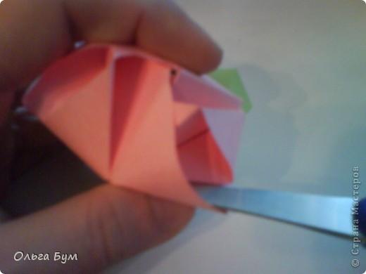 Это розочка-оригами, которая ещё и кубик-трансформер. Она превращается из розы в куб и обратно. Именно это мне в ней и нравится - сюрприз-фокус. Делать её на самом деле нетрудно, как это может показаться! По три модуля разного цвета складываются на ура. Немного хлопотно собирать, запихивая уголки в пазики. Только трудновато расправлять лепестки. У меня бумага для заметок - она менее плотная, лучше вырезать квадратики из офисной- они эластичнее и плотнее. Надо по три квадрата каждого двух цветов. У меня размер 9х9 см. фото 47