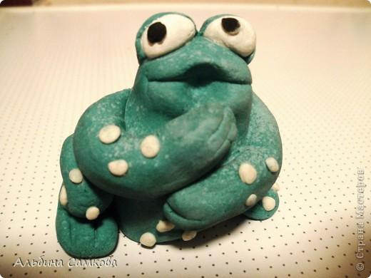 Старший сын давно просил сделать ему на день рождение денежную жабу. Наконец-то я её сделала. Это первая объемная поделка из соленого теста. Правда ей далеко до денежной, но ему она очень понравилась.  фото 4