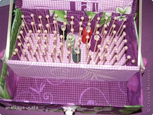 Очень давно хотелось подарить свекрови коробку для рукоделия ( у нее очень много катушек, а хранить в баночках не очень удобно) На страницах интернета нашла идею о создании коробки для катушек, она меня впечатлила на подвиги и вот что из этого вышло фото 4